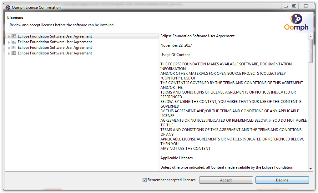Eclipse installation Licences agreement