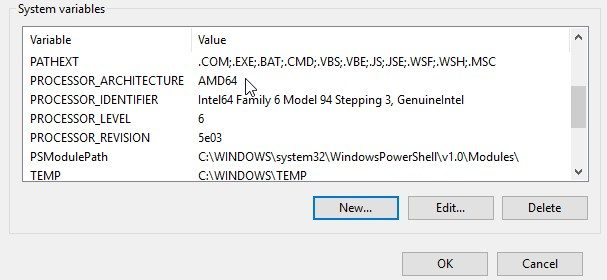 Creating new environment variable