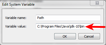 set PATH for jdk edit system variable