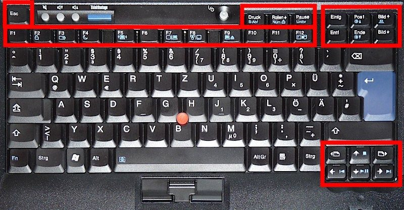locations of special keys on classical 7 row Thinkpad keyboard T400